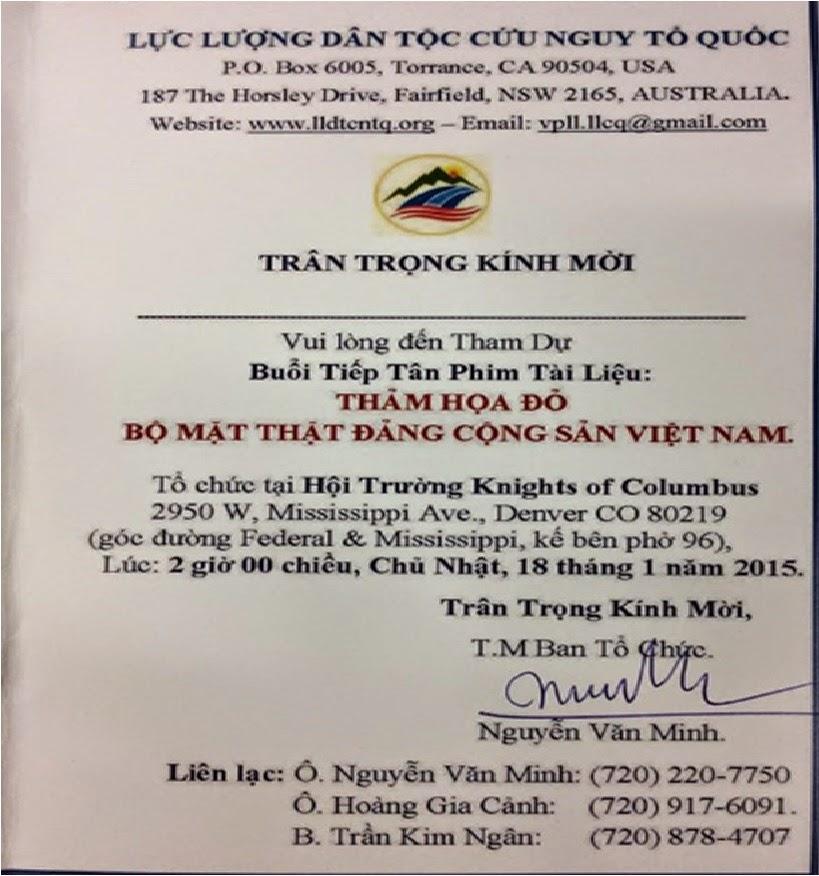 Thảm Họa Đỏ - Bộ Mặt Thật Đảng Cong Sản Việt Nam: Thư mời ...