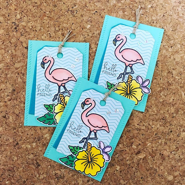 Sunny Studio Stamps: Tropical Paradise Flamingo Tags by Kumiko