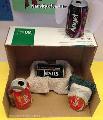 Witziges Bild - Jesus Krippengeschichte mit Cola Dosen mit Namen