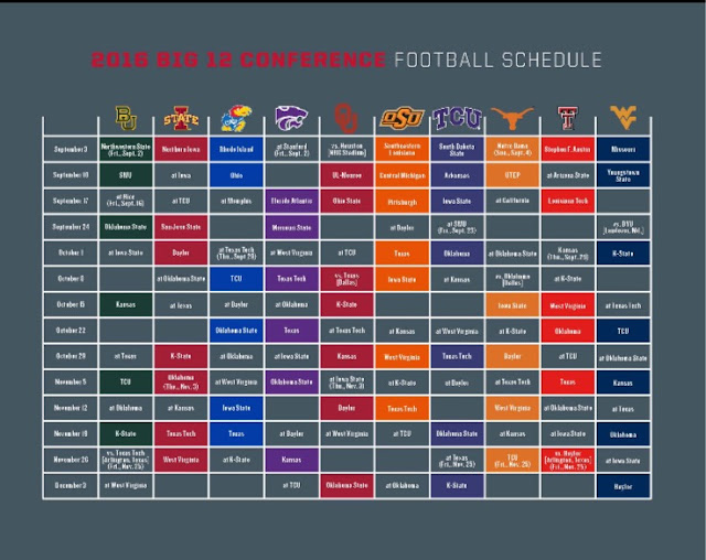 This Colorful Life Big 12 Football Schedule 2016