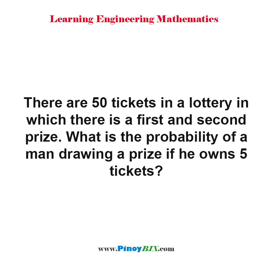 What is the probability of a man drawing a prize if he owns 5 tickets?