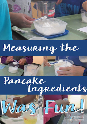 STEM Challenge: Kids measuring out the amount of each ingredient as they test their pancake recipes!