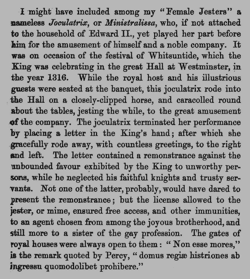 a 1316 woman jester in King Edward ll's court in England