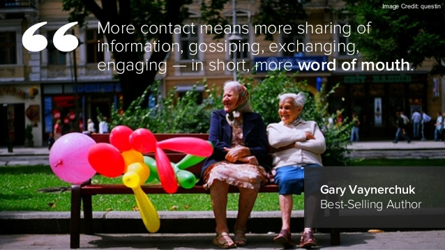 More contact means more sharing of information, gossiping, exchanging, engaging - in short, more word of mouth.