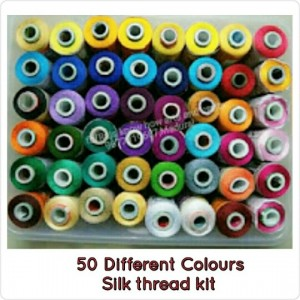565fd1da8 Price:Rs.800 for 50 colors. Silk Thread(basic colors kit) Each thread is  500 meter approximately. Silk Thread(,GV, VARDHAMAN mixed in this pack)