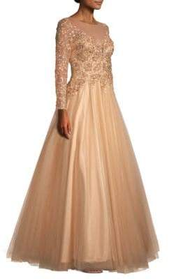 Basix Black Label Floral Applique Ball Gown
