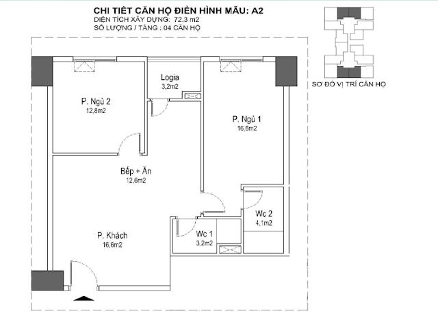 căn hộ A2 72m, tòa Park 1 2 3 Eurowindown Đông Trù