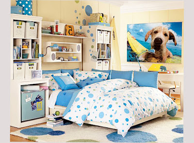 Bedroom Designs For Teenage Girls Dot Motive With Blue and White Color Cute Picture 001