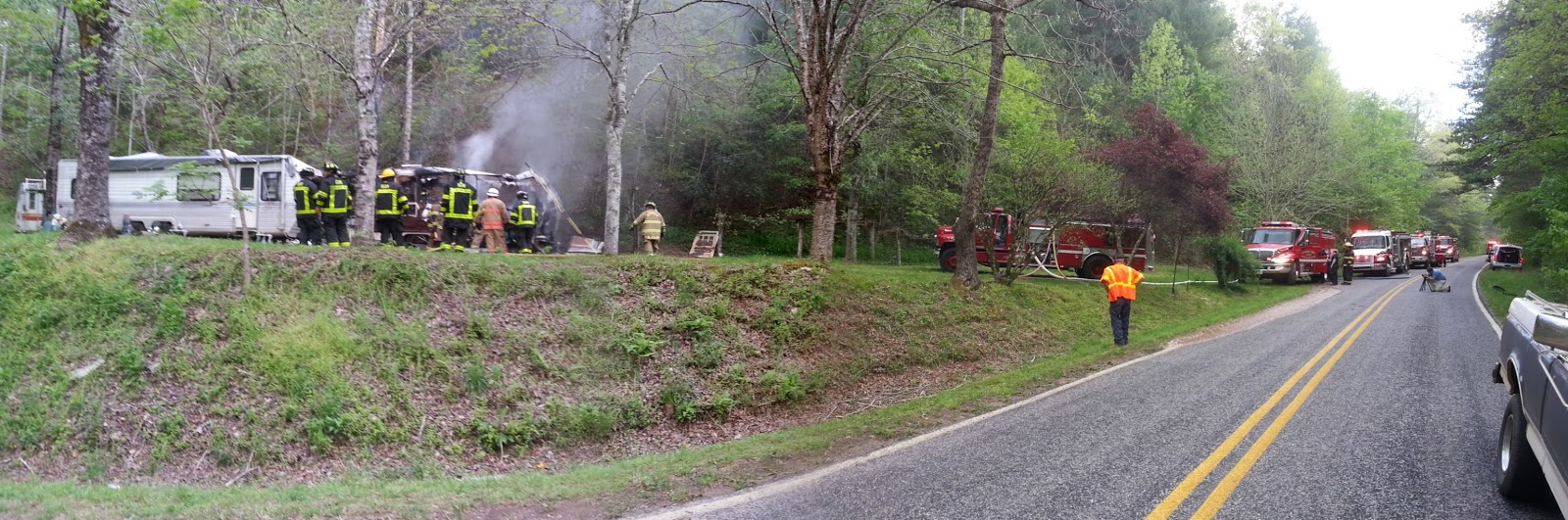 Panoramic shot of the fire scene