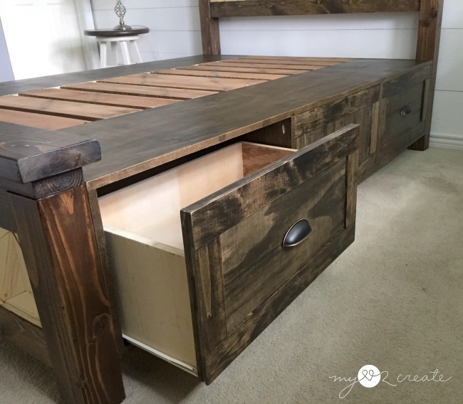 pulled out drawer on farmhouse storage bed