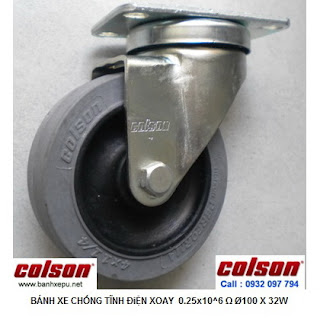 Bánh xe chống tĩnh điện Colson Mỹ càng xoay phi 100 | 2-4646-445C www.banhxeday.xyz