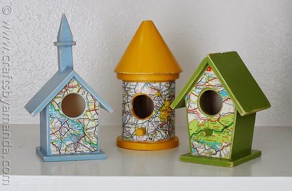 Casa de passarinho decoradas com mapas