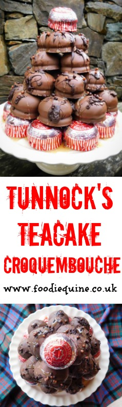 www.foodiequine.co.uk The perfect no-bake-cake for a Scottish celebration - a tower of Tunnock's Teacakes! To celebrate my 5th blogiversary I've created a Croquembouche of chocolate and marshmallow from the iconic silver and red wrapped biscuit.