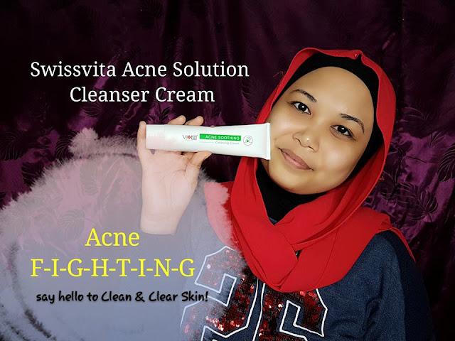 Swissvita Acne Solution Soothing Cleanser Cream Untuk Si Muka Berjerawat