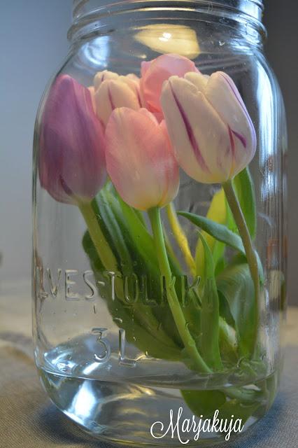 tulppaanit ilveksen lasitolkissa