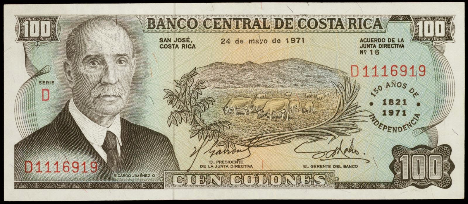 costa rica 100 colones banknote 1971  u0026quot 150 years of independence u0026quot