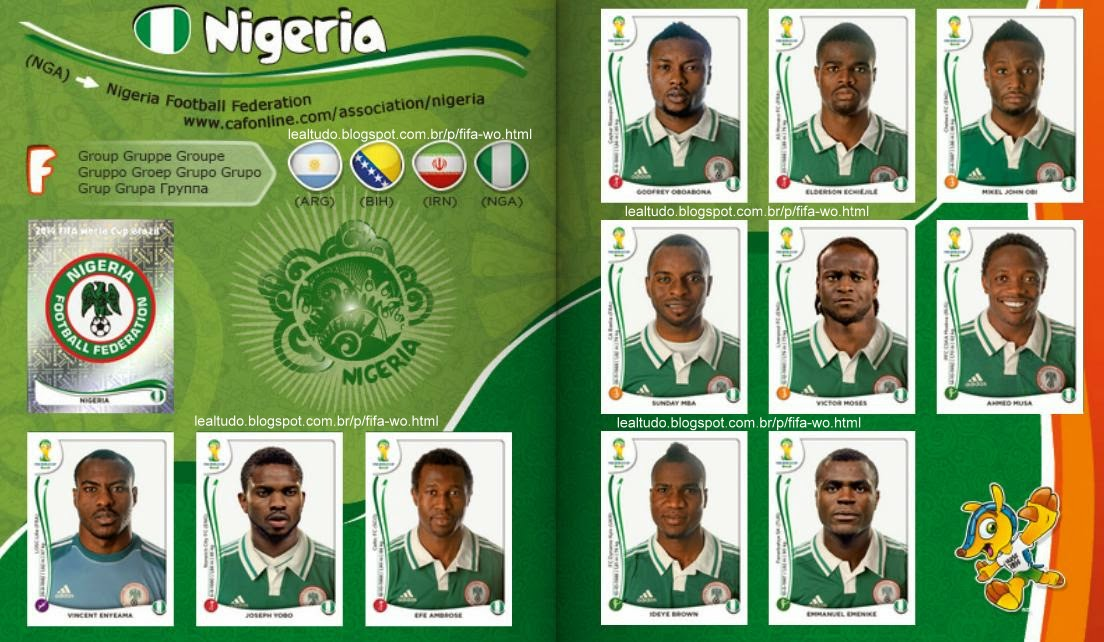 Album NIGERIA Fifa World Cup BRAZIL 2014 LIVE COPA DO MUNDO Sticker Figurinha Download Lealtudo