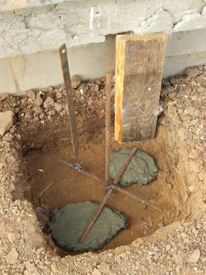 бетонные опоры столбов - армирование