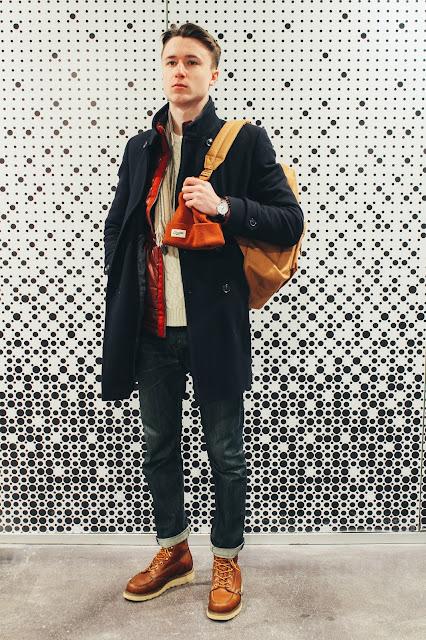 Мужской зимний многослойный образ в стиле кэжуал Или с чем носить пальто мужчине. Ботинки Thorogood
