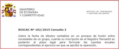 BOICAC 102 Consulta 2 fecha efectos contables fusión