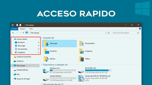Eliminar Acceso Rápido en Windows 10