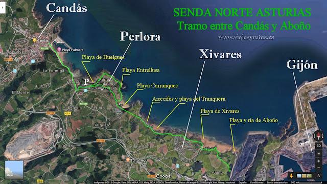 Mapa de tramo de la senda norte entre Candás y Aboño