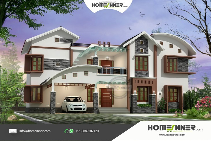 Luxury modern 6 bedroom indian villa design in 3778 sqft for Villa design plan india
