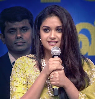 Keerthy Suresh in Saree with Cute and Lovely Smile in Aval Awards 2