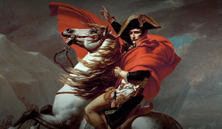 grand master painting of napoleon in battle over horse
