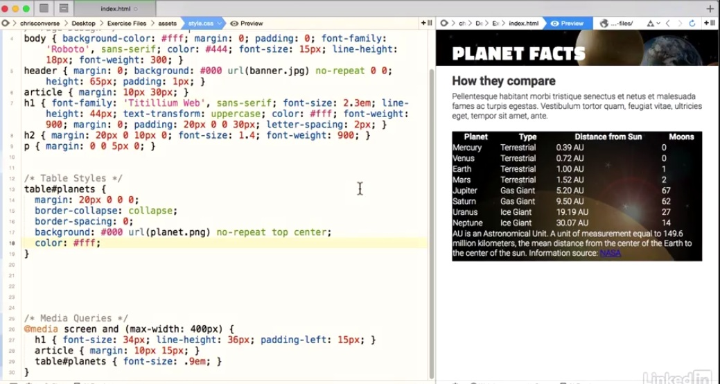 Styling a Table with css: TH and TD tags | retreat was amazing