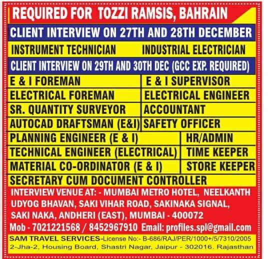 Tozzi Ramsis Bahrain Job Opportunities - LATEST JOBS