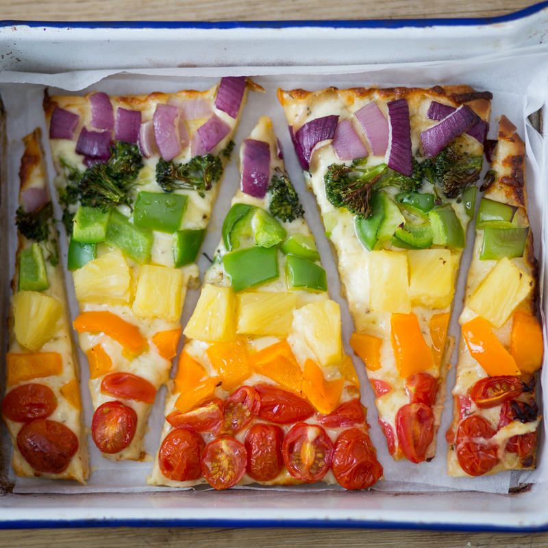 Rainbow Cauliflower Pizza: Get You Kids Eating Veggies