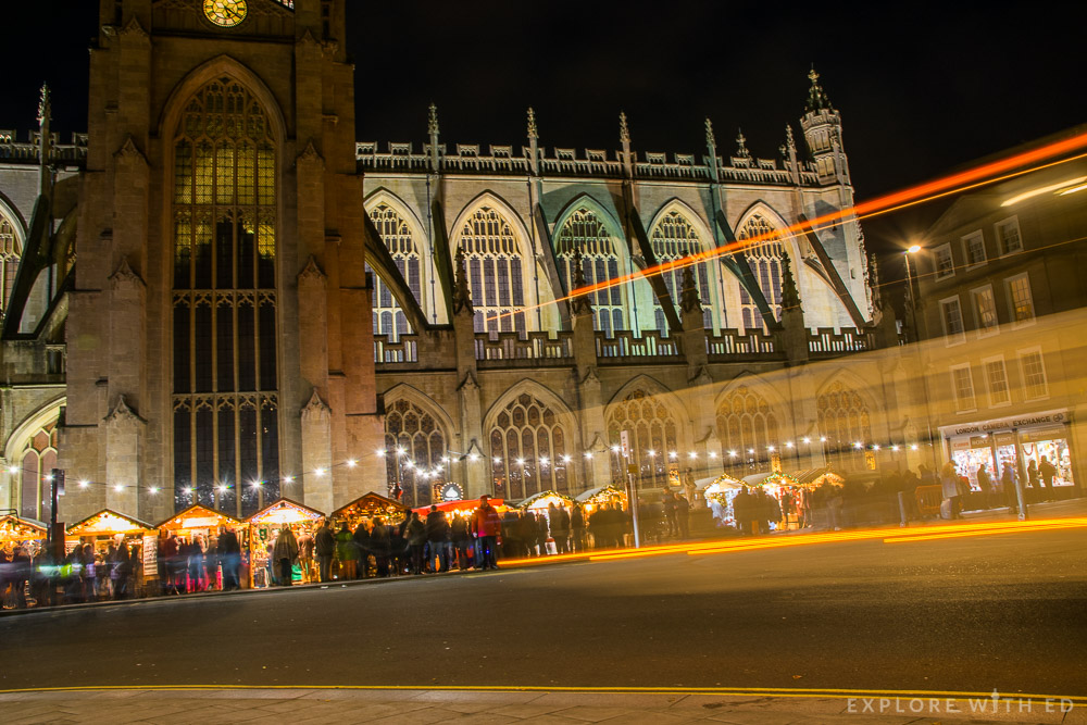 Long exposure of Bath Abbey and Christmas Market at night
