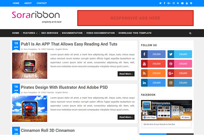 Sora Ribbon – Responsive Blogger Template