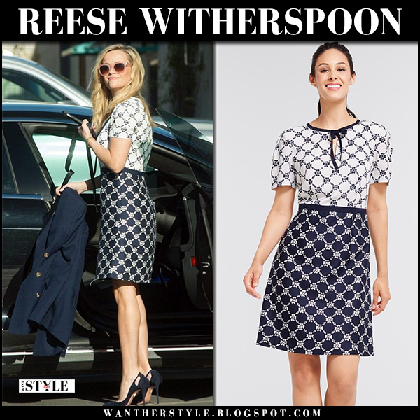 Reese Witherspoon in white and navy printed dress and suede pumps aquazzura spring fashion february 8