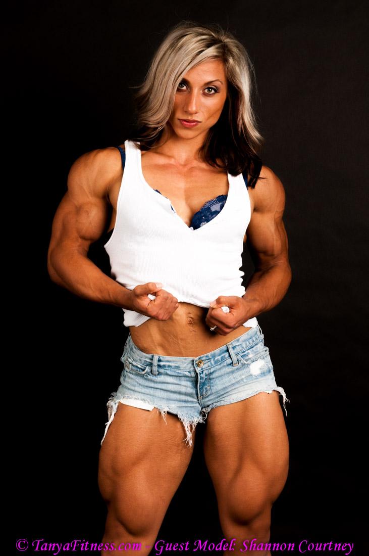 Muscle girl takes bicep cumshot 2