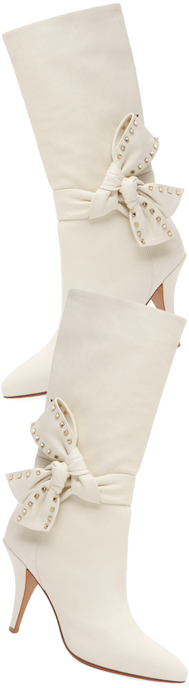 Valentino Garavani Mid-Calf Leather Bootie with Side Bow