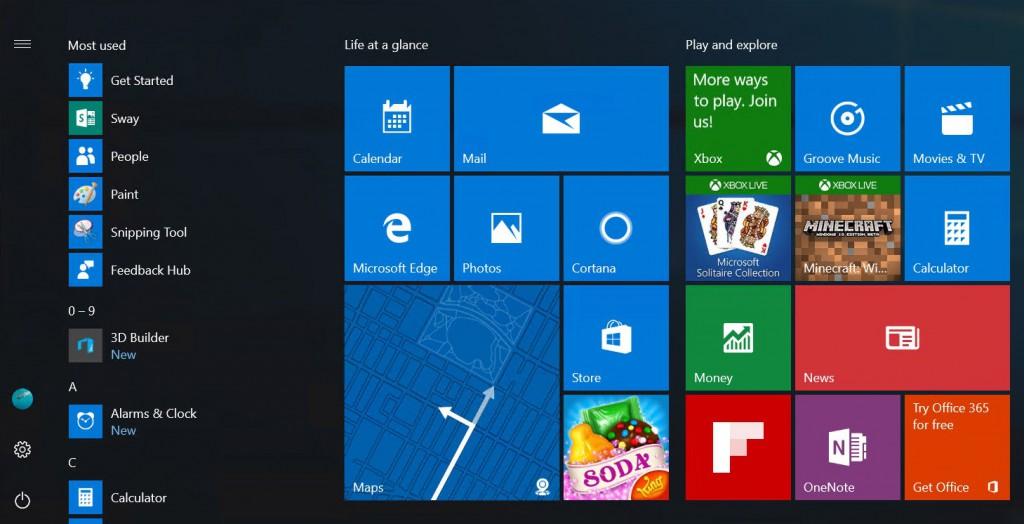 Il futuro Menu Start di Windows 10 in azione HTNovo