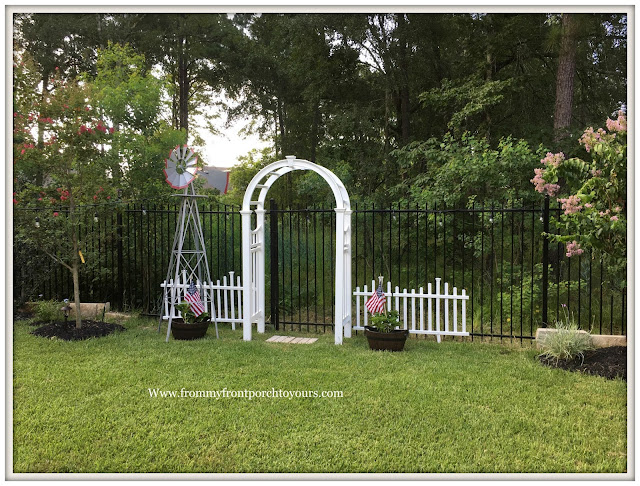 Backyard Landscape- White Garden Arbor-Cottage Garden-White Picket Fence-Windmill-From My Front Porch To Yours