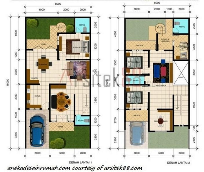 denah rumah lantai 2 minimalis kreatif