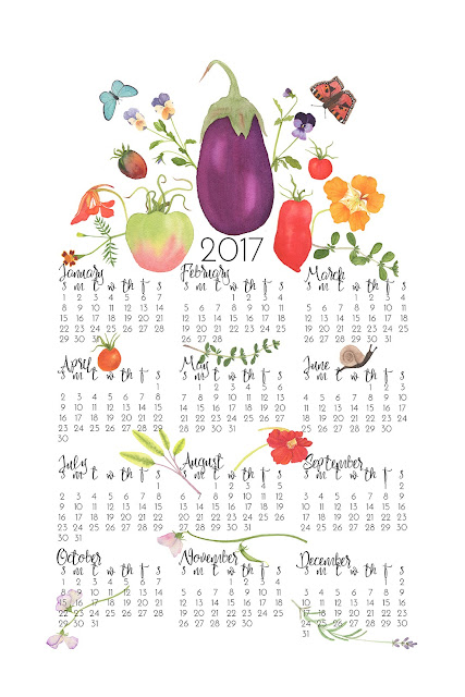 tea towel calendar, 2017 tea towel calendar, watercolor design, Spoonflower, Kitchen Garden, Anne Butera, My Giant Strawberry