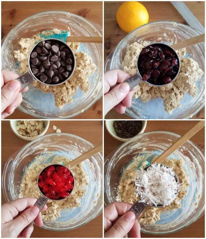 Ingredientes para adicionar a las galletas de avena: chispas de chocolate, cramberries, coco, collage de 4 fotos
