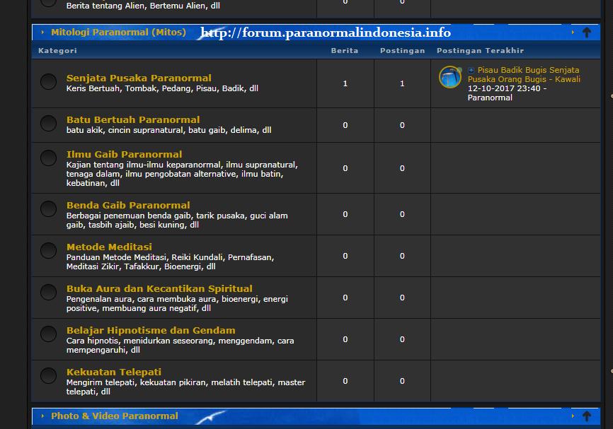 kategori topik diskusi forum paranormal Indonesia