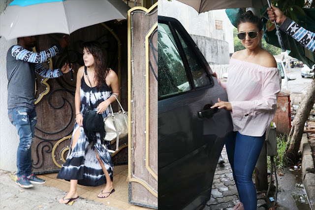 Rhea Chakraborty and Huma Qureshi Snapped In Juhu, Mumbai
