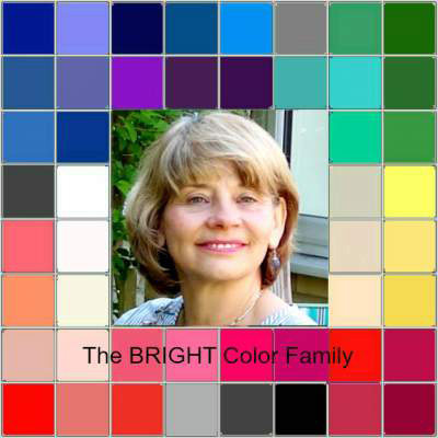 Image showing a fair haired woman surrounded by colour tiles representing the shades that suit her best as chosen by colour consultant Pamela Graham