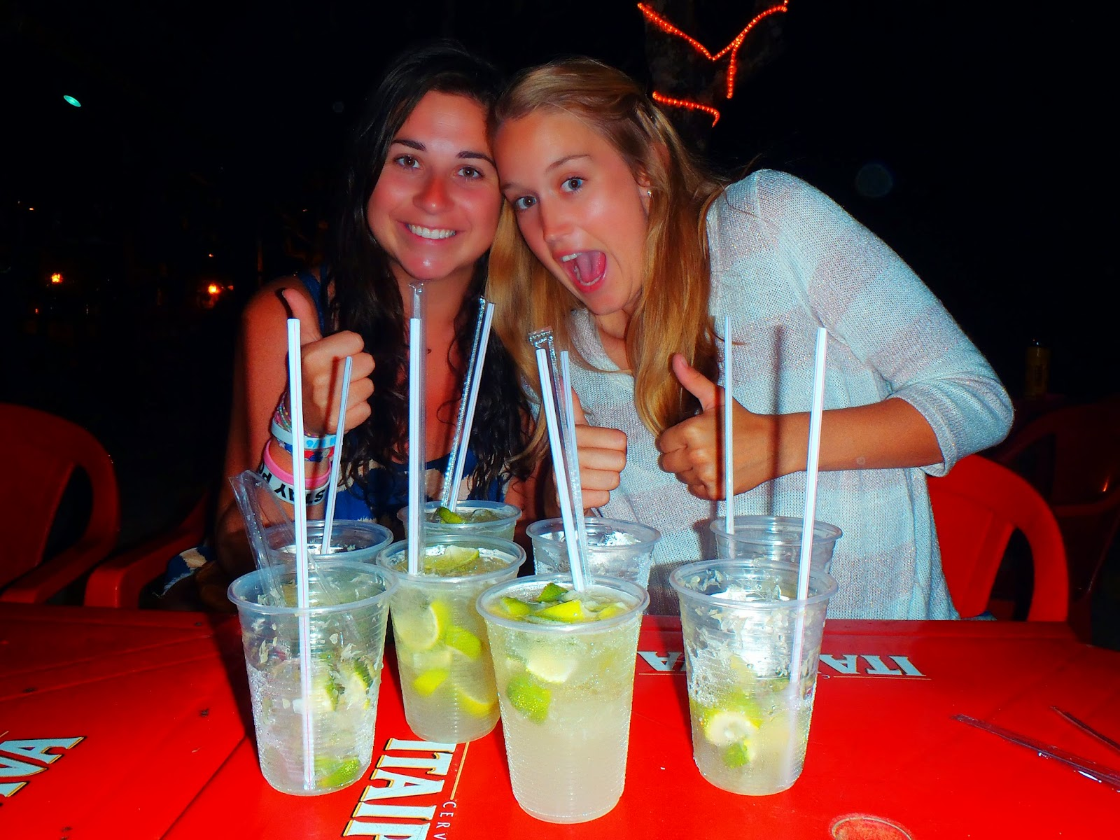 Friends drinking Caiprihinas in Brazil