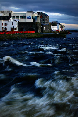 River Corrib going wild under Wolfe Tone Bridge, Galway