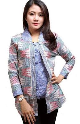 Model Baju Batik Atasan Kerja Wanita elegan