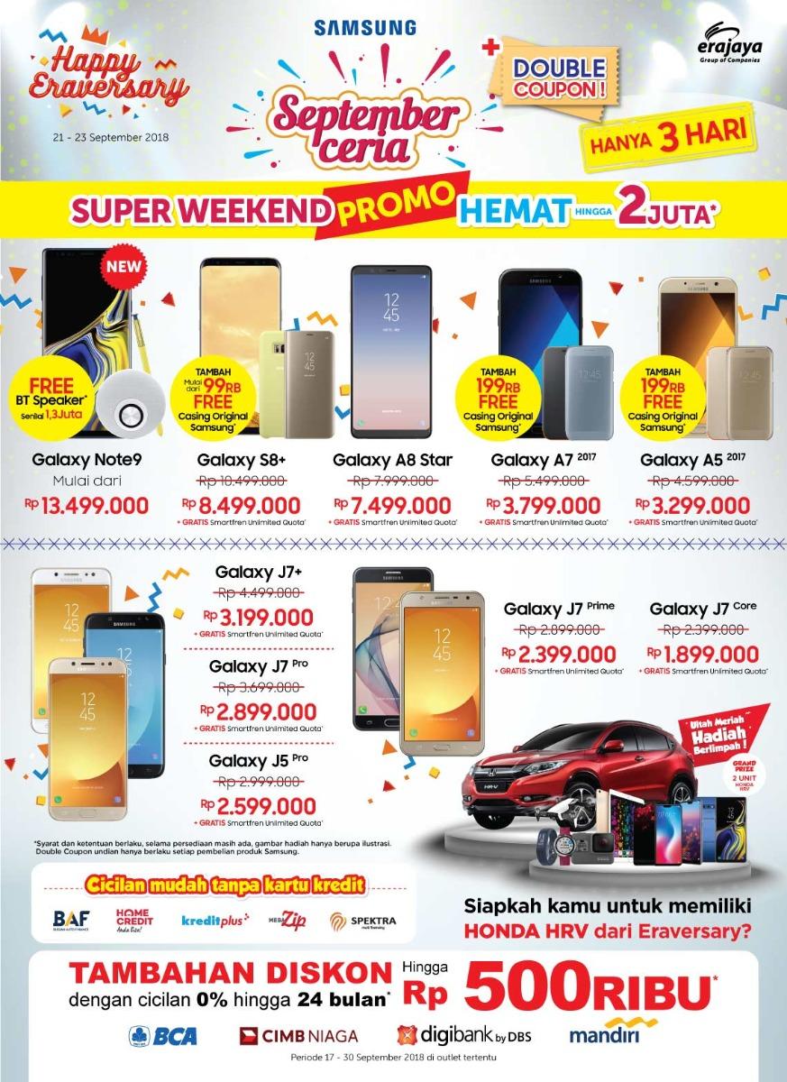 Erafone - Promo Super Weekend Hemat 2 Juta & Promo Gear Gretan (s.d 23 Sept 2018)
