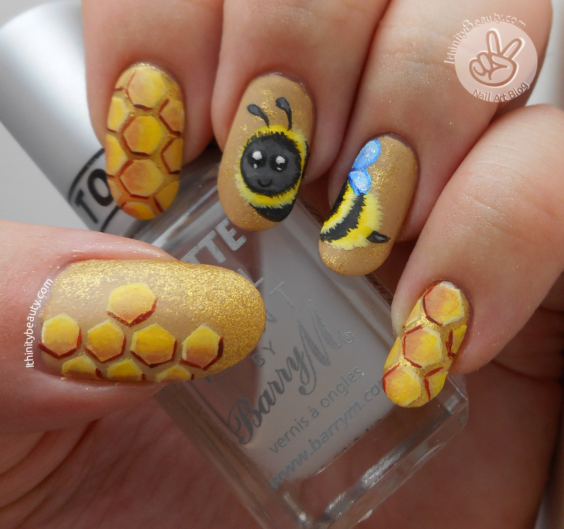 Freehand bumble bee nail art ithinitybeauty nail art blog for this manicure i began with my all time beloved opis nail envy and once dry applied china glazes classic caramel i never know what to use this prinsesfo Image collections
